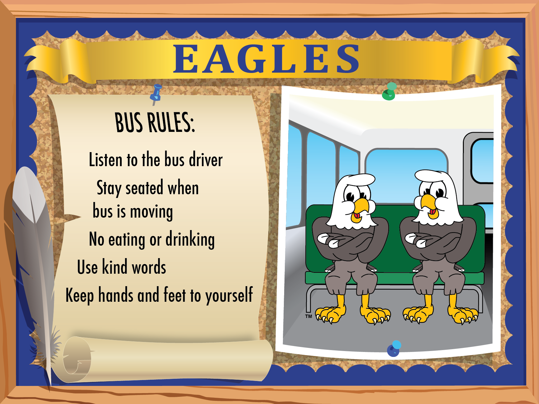 This eagles bus safety poster features a list of rules and behavioral ...