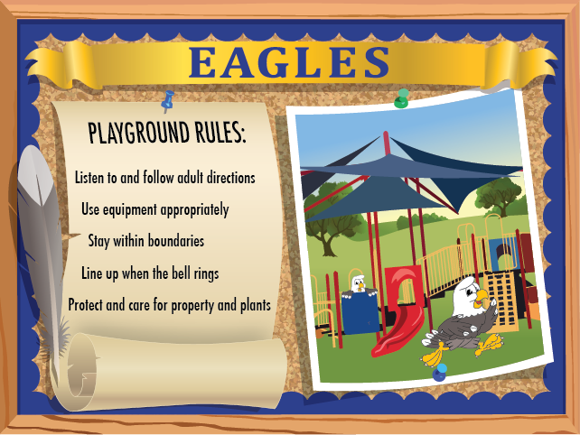 This poster lists playground rules for students it features an eagle