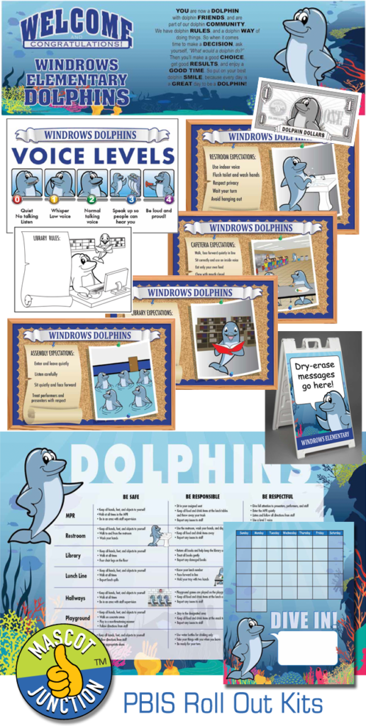 PBIS Roll Out Kit Dolphin Mascot
