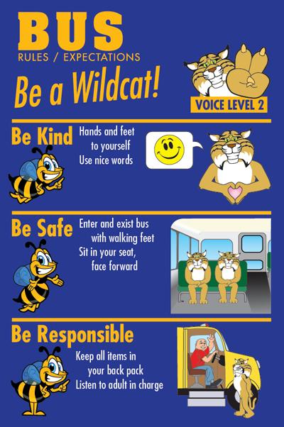 Bus Rules Poster PBIS Wildcat Mascot