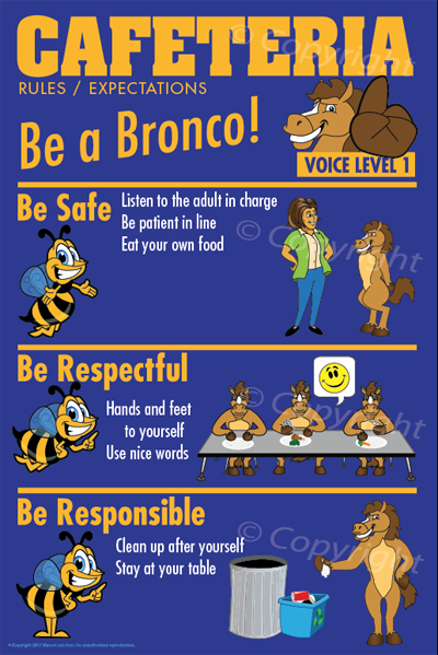 PBIS Posters Cafeteria Rules Bronco