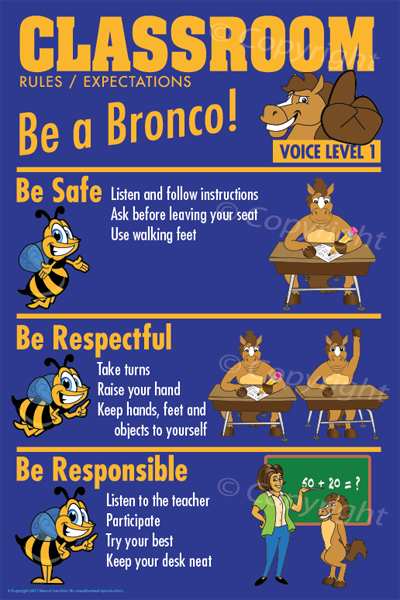 PBIS Posters Classroom Rules Bronco