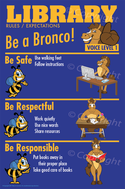 PBIS Posters Library Rules Bronco