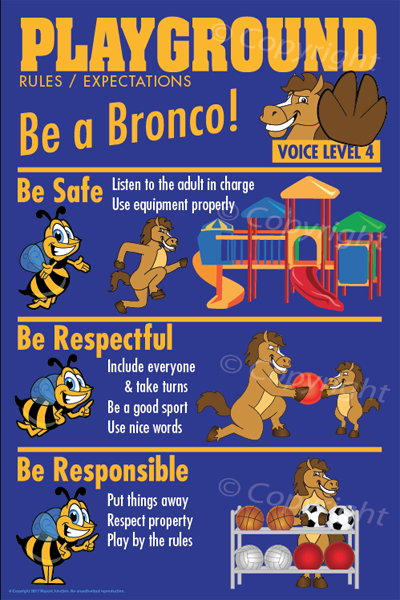 PBIS Posters Playground Rules Bronco