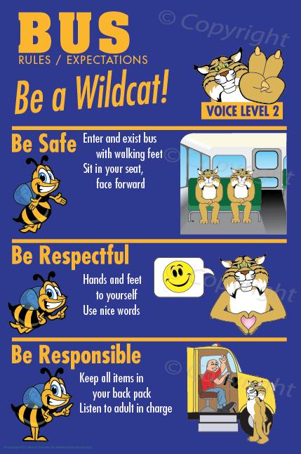 Wildcat Bus rules PBIS Posters