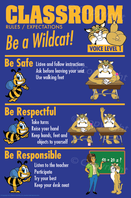 Wildcat Classroom Rules PBIS Posters