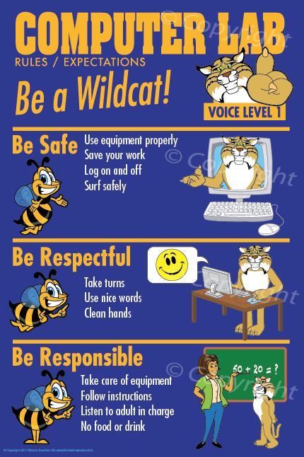 Wildcat Computer Lab Rules PBIS Posters