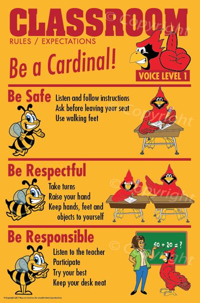 PBIS Bathroom Rules Posters Cardinal Mascot