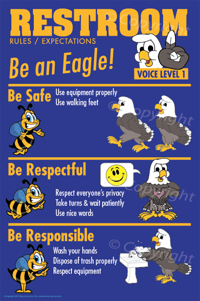 Restroom Rules Poster Featuring Eagle Mascot