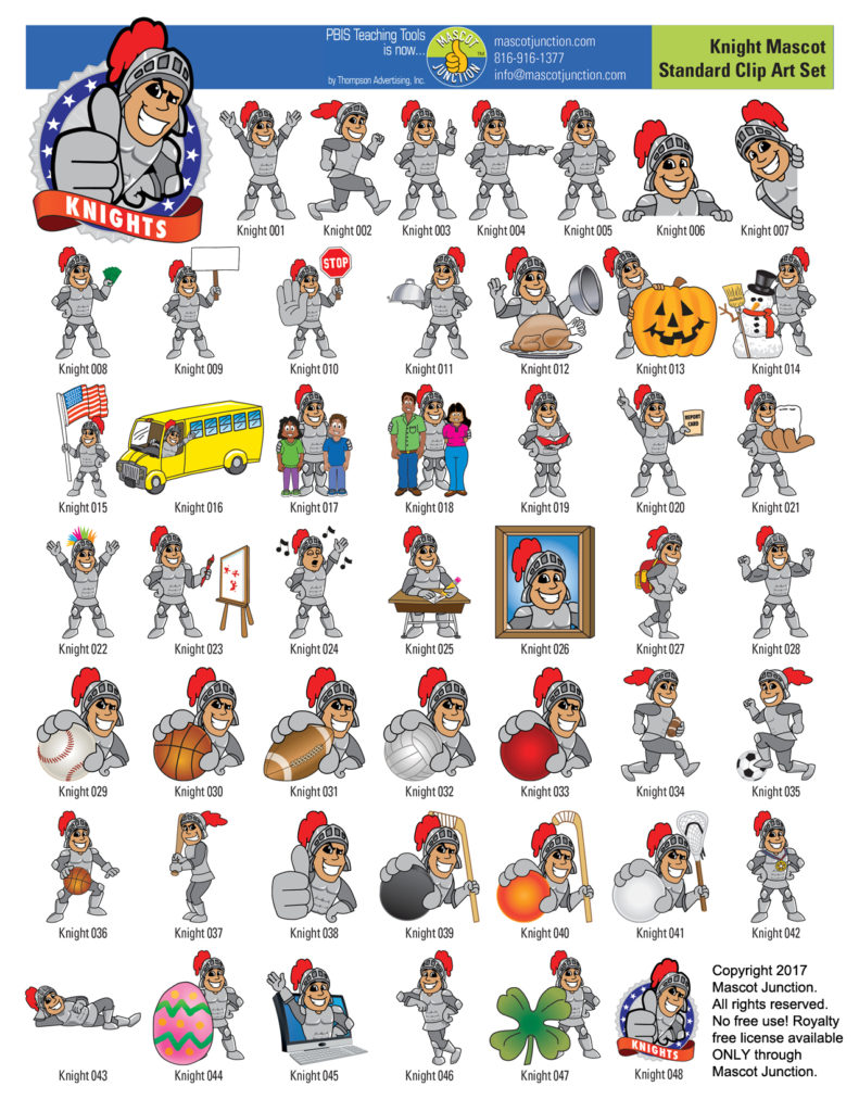 Knight Mascot Clip Art Collection