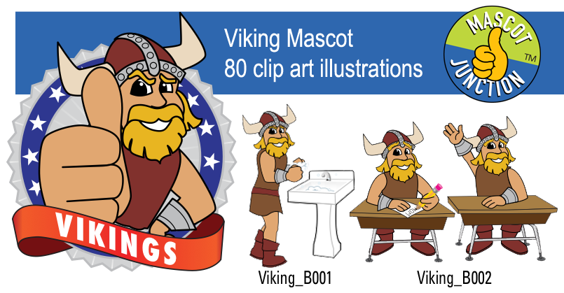 Viking Mascot Clip Art Illustrations