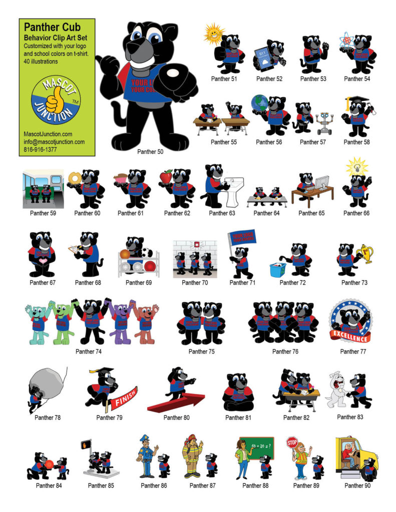Panther Cub Mascot Clip Art Behavior Set