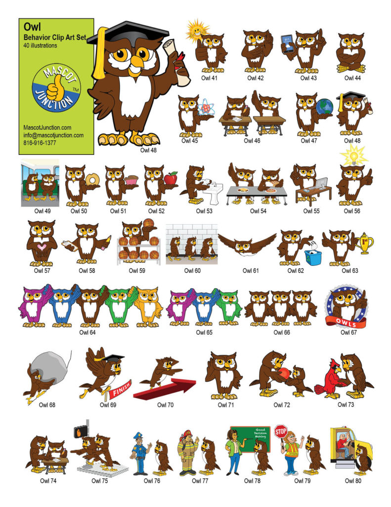 Owl Mascot Clip Art Behavior Set